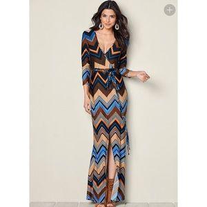 Venus faux wrap maxi dress size XL, browns
